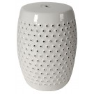 Broderie White Ceramic Stool