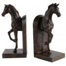 Carved Stallion Book Ends