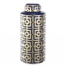 Deco Inspired Cylinder Vase in Gold and Blue