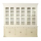 French Provincial Three Bay Bookcase with Glass Doors in White Matt Finish