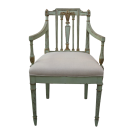 Petite Carved Arm Chair in Blue with Gilded Highlights