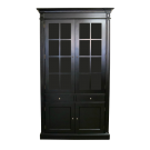 French Provincial Display Cabinet in Allover Black