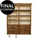 Provincial Louis Style Two Bay Bookcase in Light Oak and White