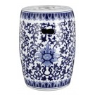 Chinoiserie Blue and White Ceramic Stool