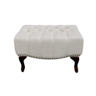 French Upholstered Ottoman in Linen