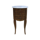 Moreno Oval Side Table in Walnut with White Marble Top