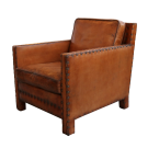 Nail Head Arm Chair in Distressed Leather