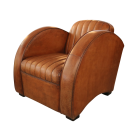 Art Deco Round Arm Chair in Distressed Leather