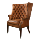 Georgian Tufted Wing Chair in Distressed Leather