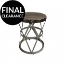 Industrial Accent Table in Reclaimed Elm with Intertwined Stainless Steel Base