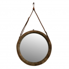Round Recycled Elm and Leather Mirror