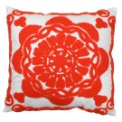 Embroidered Floral Cushion in Vermillion