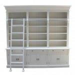 French Provincial Three Bay Bookcase with Ladder in White Matt Finish