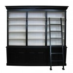 French Provincial Three Bay Bookcase with Ladder in Black and White Matt Finish