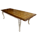 Louis XV Parquetry Extension Dining Table in Antique White
