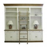 French Provincial Three Bay Bookcase with Ladder in Cream and Natural Oak Finish