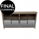Industrial Style Sideboard in Oak with Stainless Steel Mirrored Front