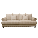 French Linen Three Seat Sofa in Taupe and Beige Stripe
