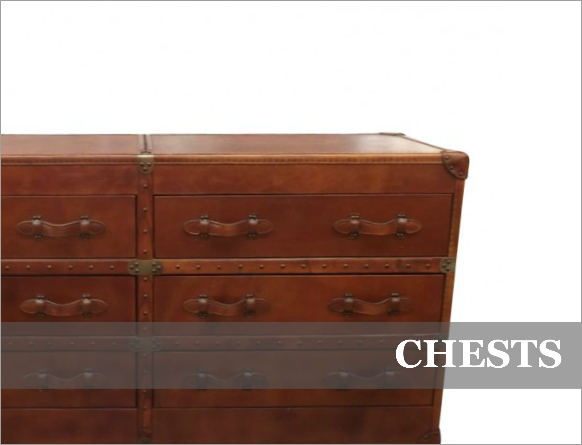 Leather Chests Storage English Style Furniture