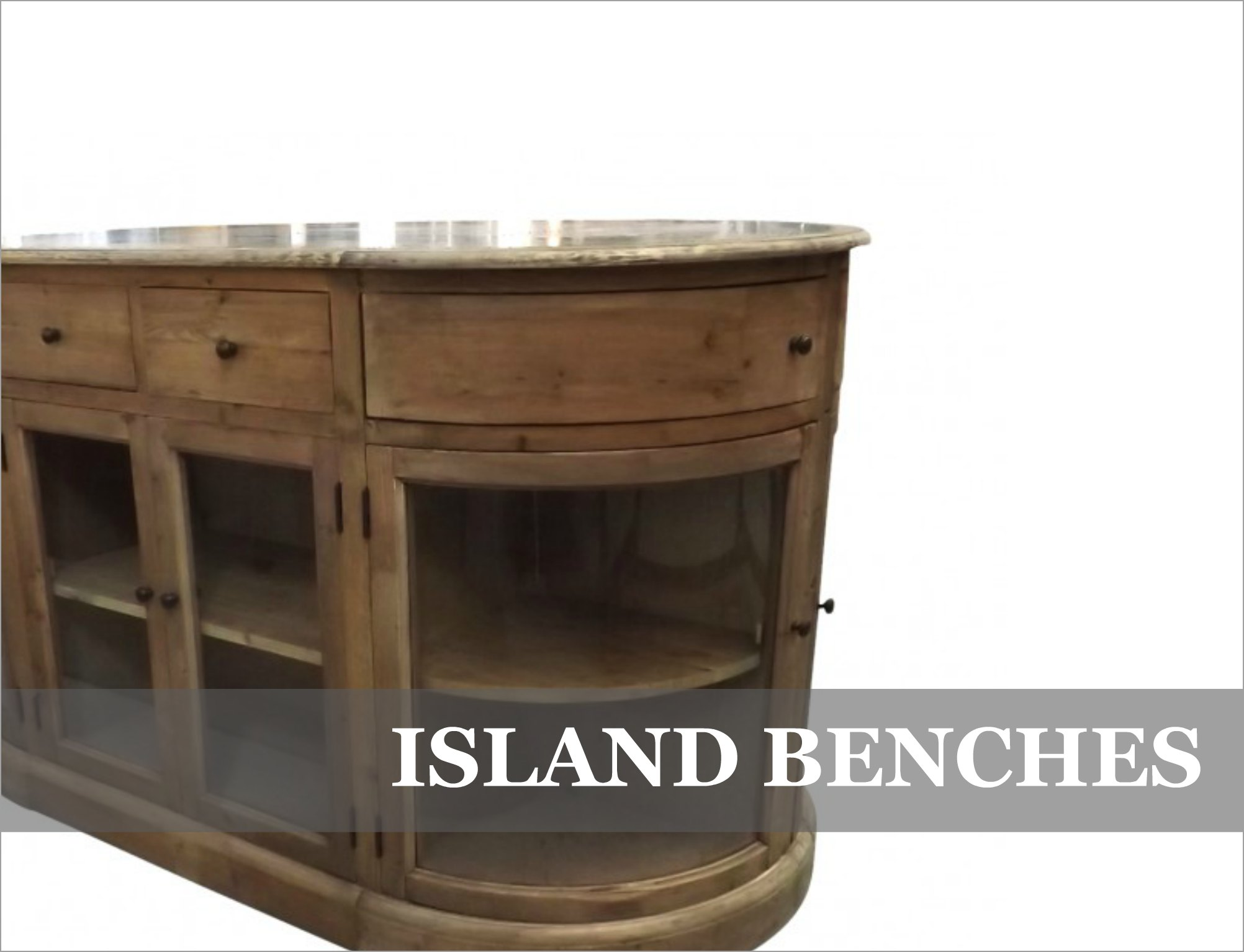 French Provincial & Industrial Kitchen Storage Island Benches